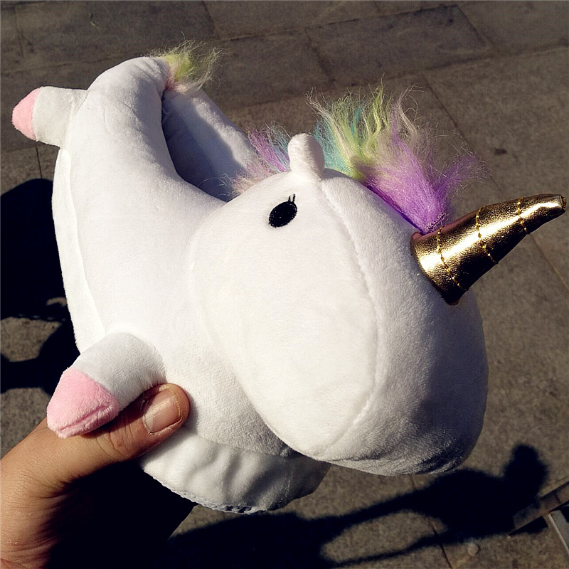 Lovely Cartoon Home Slippers For Men&Women Warm Soft PP Cotton Plush Indoor Unicorn House Shoes unicornio licorne Fit Cosplay soft house coral plush slippers shoes white