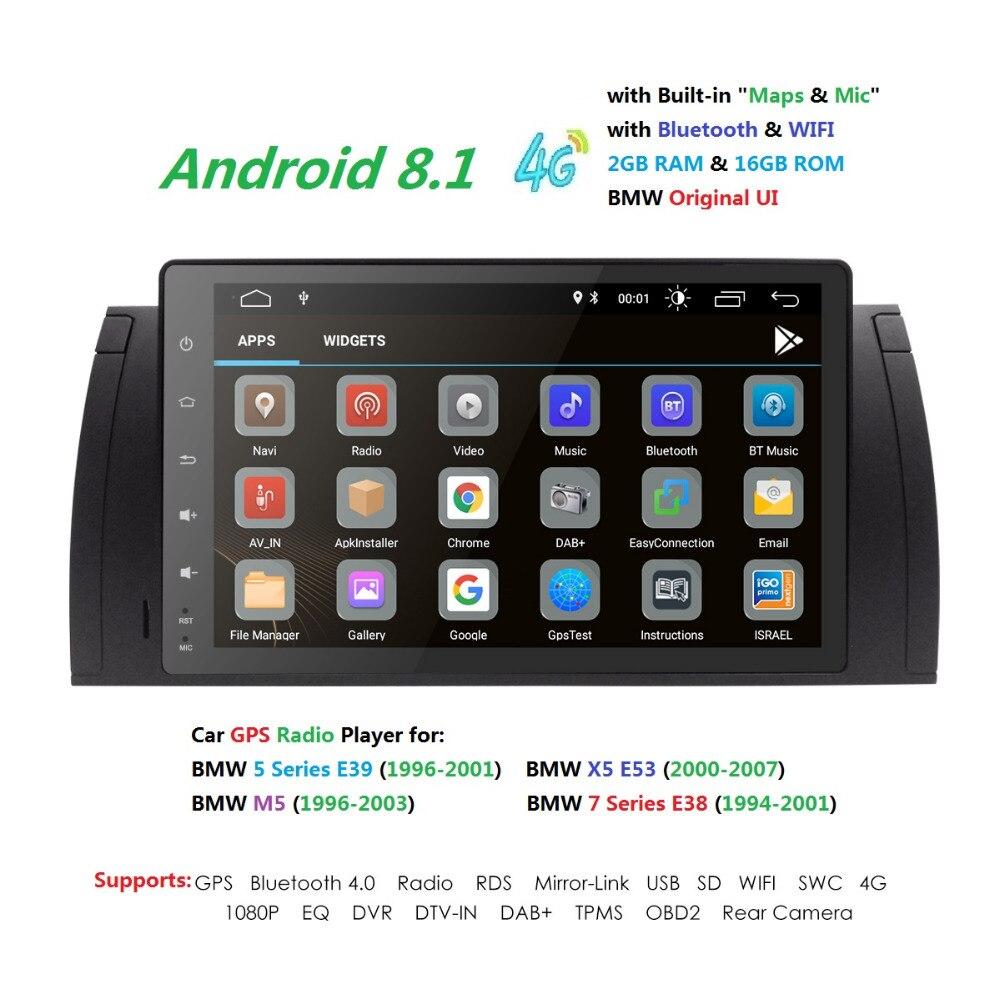 1din9''Android8. 1 CarNODVD GPS pour BMW E53 E39 X5 pièces tuning M5 Accessoires X5 E53 Navigation CFC DVR RDS DVBT BT 2 GRAMMES 4GWIFI