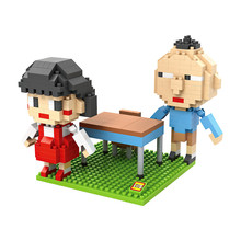 LOZ 9834 Japanese Anime Series Chibi Maruko $ Nagasawa  Scene Diamond Bricks Minifigures Building Block Compatible with Legoe