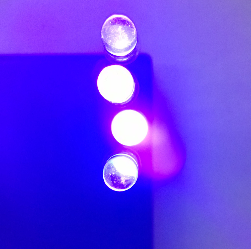 US $16 5 |50pcs/Lot,High Bright LED 5mm UV LEDs SUPER BRIGHT Purple water  clear 365 370nm Free shipping-in LED Bulbs & Tubes from Lights & Lighting  on