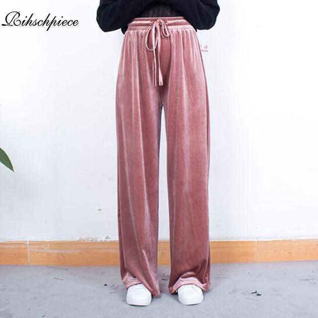 Rihschpiece Winter Velvet Pants Women Elastic High Waist Wide Leg Pant Classic Loose Plus Size Trousers RZF1409