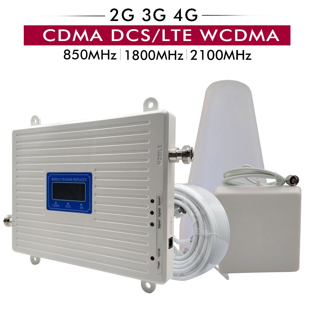 Gain 65dB Tri Band Booster CDMA 850 DCS/LTE 1800 WCDMA 2100 MHz 2G 3G 4G Cell Phone Signal Repeater Full Set With Antenna Cable