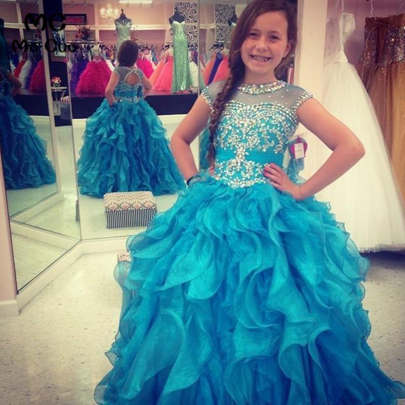 Amazing 2016 Ball Puffy Pageant For Kids Holy Communion Beaded Ruffles   Flower     Girl     Dresses   Baby   Girl   Tutu   Dress