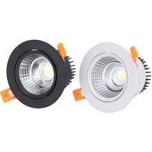 Белый черный Светодиодный точечный светильник COB Потолочный светильник AC85-265V 3 Вт 5 Вт 7 Вт 9 Вт 12 Вт 15 Вт алюминиевый встраиваемый светильник s круглый светодиодный панельный светильник