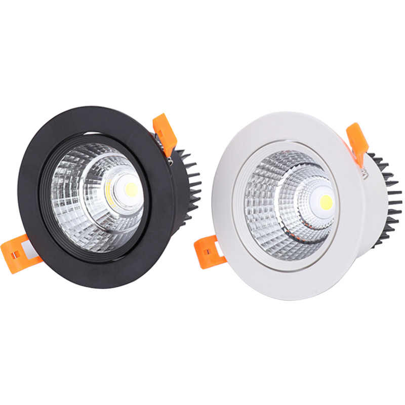 White Black LED COB Spotlight Ceiling lamp AC85-265V 3W 5W 7W 9W 12W 15W Aluminum recessed downlights round led panel light