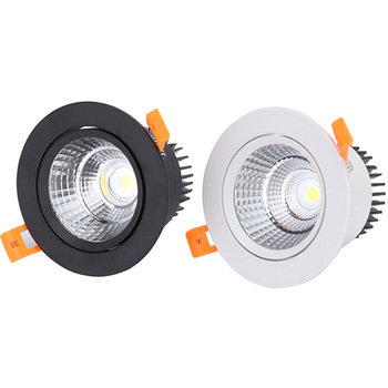 White Black LED COB Spotlight Ceiling lamp AC85-265V 3W 5W 7W 9W 12W 15W Aluminum recessed downlights round led panel light 7w dimmable cob led recessed cob downlights cob led ceiling lamp warm natural cold white white aluminum spot lamp ac85 265v