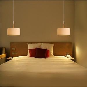 Image 5 - נורדי סגנון מודרני Creative פשוט מנורת חדר שינה מחקר מסעדה יחיד ראש עץ בד צל אישיות נברשת