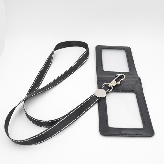 Genuine leather lanyards id badge holder / Lanyard sided
