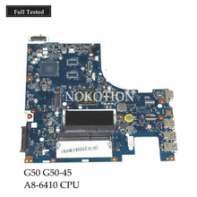 цена на NOKOTION Laptop Motherboard For Lenovo G50 G50-45 A8-6410 CPU ACLU5 AULU6 NM-A281 REV:1.0 DDR3 MAIN BOARD Full tested