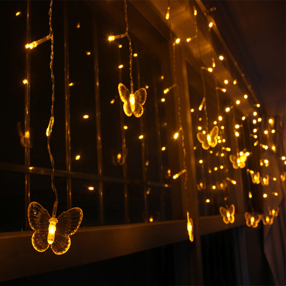 5m/3.5m Led Curtain butterfly String Light Fairy Lights ...