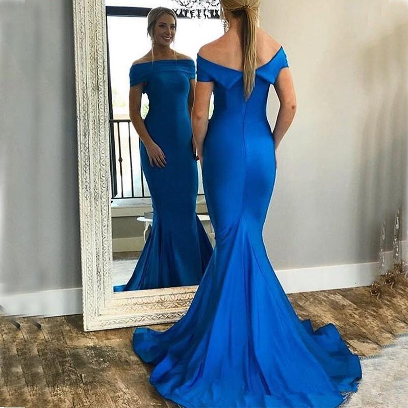 Simple bleu Royal sirène robes de bal hors épaule balayage Train longue formelle soirée robes de danse Occasion spéciale robe