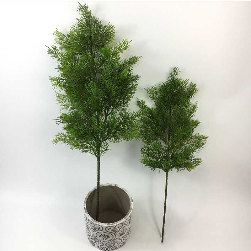 Verde artificial Cypress de hoja de árbol de pino aguja deja rama boda Oficina Decoración del Hotel
