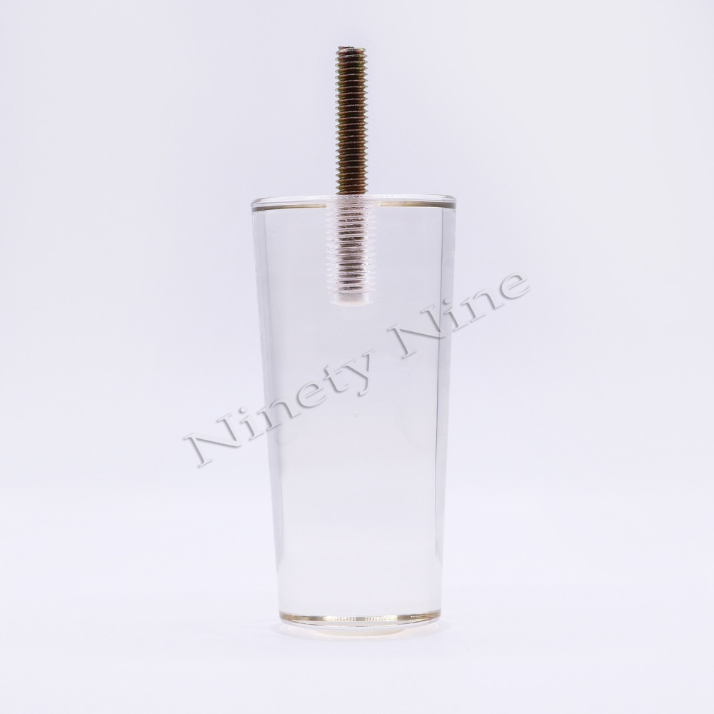 4PCS 4Inch/100mm Sofa Legs Clear Furniture Feet Acrylic Bench Legs Modern Cabinet Cupboard Coffee Table Legs Pyramid Couch Feet