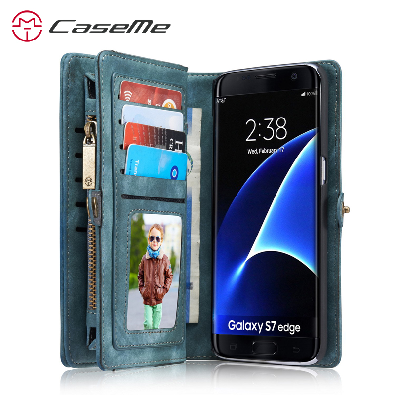 Caseme 2in1 Phone Wallet Case For Samsung S7 Edge Leather Magnetic Cover Galaxy Pouch Card Holder