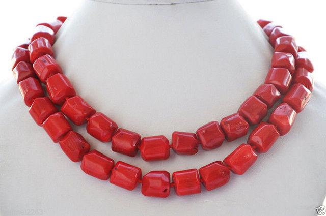 """Regalo de las mujeres palabra Amor envío de la venta Caliente nuevo Estilo>>>>> naturales 32 """"13x15mm rojo masiva COLLAR de cuentas de coral"""