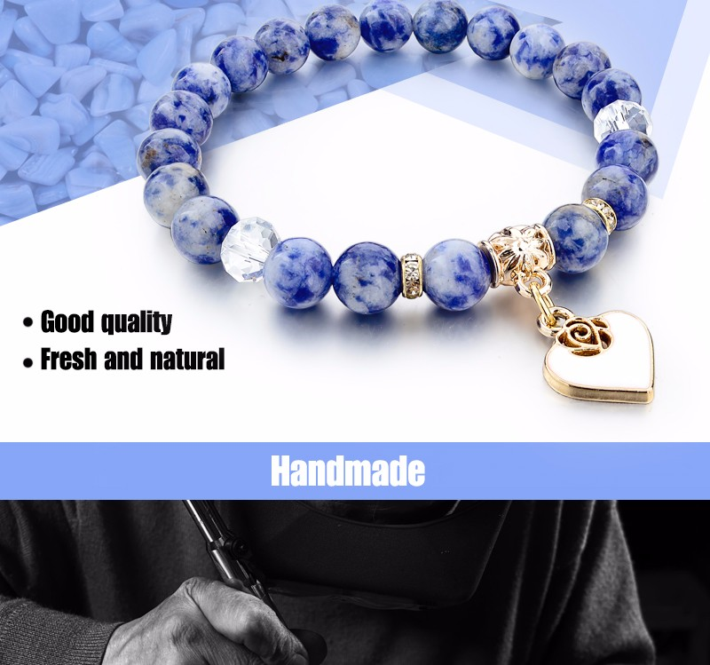 CHICVIE Boho Natural Stone Bracelets For Women Heart Love Gold Bracelets&Bangles With Stones Ethnic Jewelry Bracelet SBR150344
