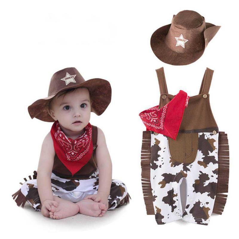 цена на Baby Boy Clothes Kids Toddler Cowboy Hat+Bodysuit+Scarf Romper Outfit Suit 3pcs
