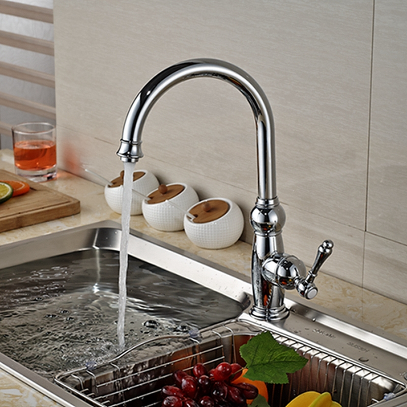 Wholesale And Retail Luxury Chrome Brass Kitchen Faucet Swivel Spout Vessel Sink Mixer Tap Single Handle Hole Deck Mounted golden brass kitchen faucet dual handles vessel sink mixer tap swivel spout w pure water tap