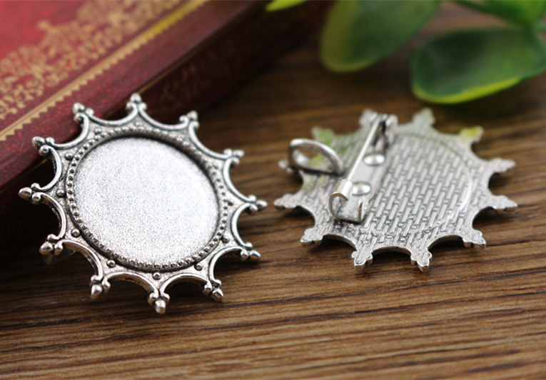2pcs 20mm Inner Size Antique Silver Brooch Pin Fashion Style Cabochon Base Setting (D2-43) anime style feather pattern zinc alloy brooch pin blue white silver