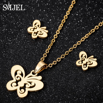 SMJEL Stainless Steel Mickey Necklace Women Jewelry Sets Bijoux Animal Butterfly Necklaces Pendants Cute Earrings Kids Gifts