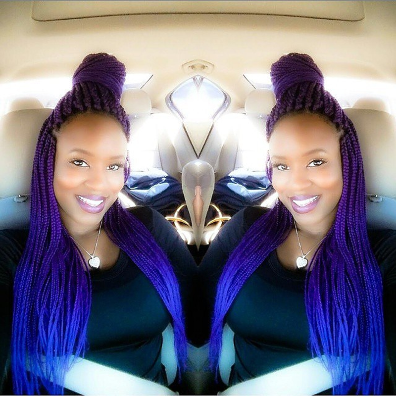 Ombre Kanekalon Purple Braiding Hair 24''100g Synthetic