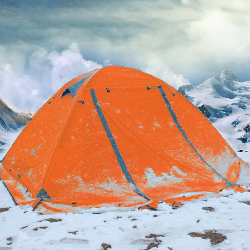 Camping camping tent outdoor 3-4 people double double aluminum pole windproof rainstorm with snow skirt wild tent