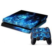 Pegatina de vinilo de calavera de fuego para PS4, funda protectora para Sony PlayStation 4 + 2 pegatinas para mando de PS4