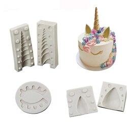 Unicornio/Oreja/ojo molde de silicona 1 pieza/2 uds molde fondant pastel herramientas de decoración molde para pasta de goma y chocolate