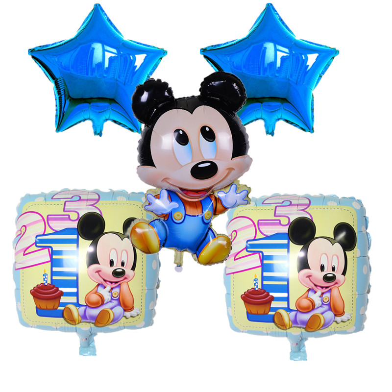 QGQYGAVJ 5 Pcs New Arrival Mickey Mouse Happy Birthday Balloon Decoration Cartoon Party Foil Minnie