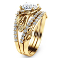 Europeo Único 14 K 585 Oro Amarillo Diamante Simulado Anillos de Compromiso Para Las Mujeres Flor Única Establece Anillo Nupcial Conjunto de La Boda