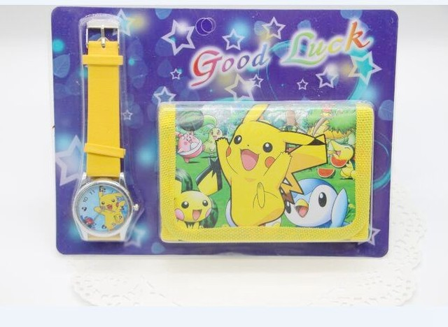 hot 1pcs/lot Pikachu Watch with wallet,birthday gift for children Y148