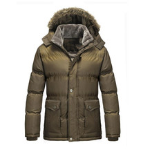 Men's coat Casual Parkas Fur Hooded jacket Solid Padded Winter Jacket Men Style Overcoat