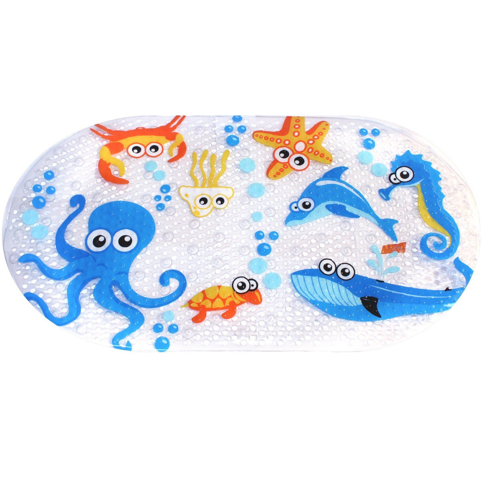 39cmx69cm Non Slip Kids Bath Mats for Shower Cartoon Octopus Design ...