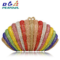 New Style Metallic Hollow Out Crystal Floral Women Evening Clutch Bag Bridal Wedding hardware clutch bag