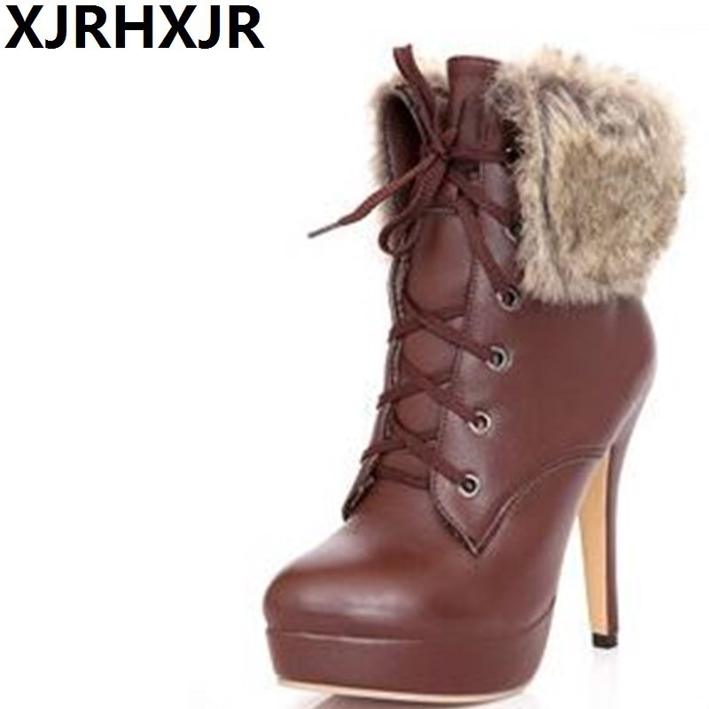 Sexy Thin Heels Plush Boots Shoes Women Ladies Lace Up Round Toe Fur Ankle Boots Women Winter High Heels Pumps sexy high heels boots women autumn winter ankle boots platform lace up round toe ladies martin boots woman stiletto pumps 14cm