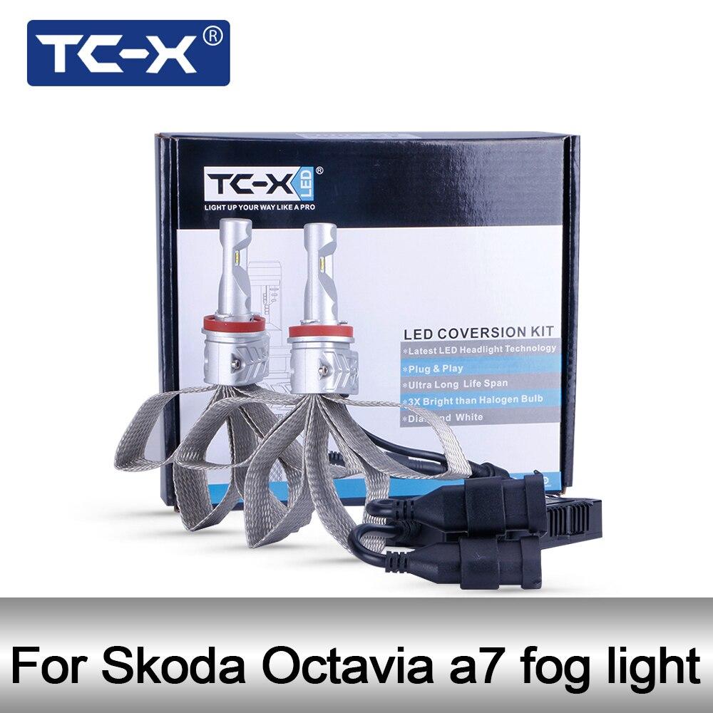 TC-X 1 Paire H11 Voiture LED Ampoule de Phare Pour Skoda Octavia a7 Foglight H11 led lampe pour Auto 6500 k light car h11 LED 12 V Luxeon ZES