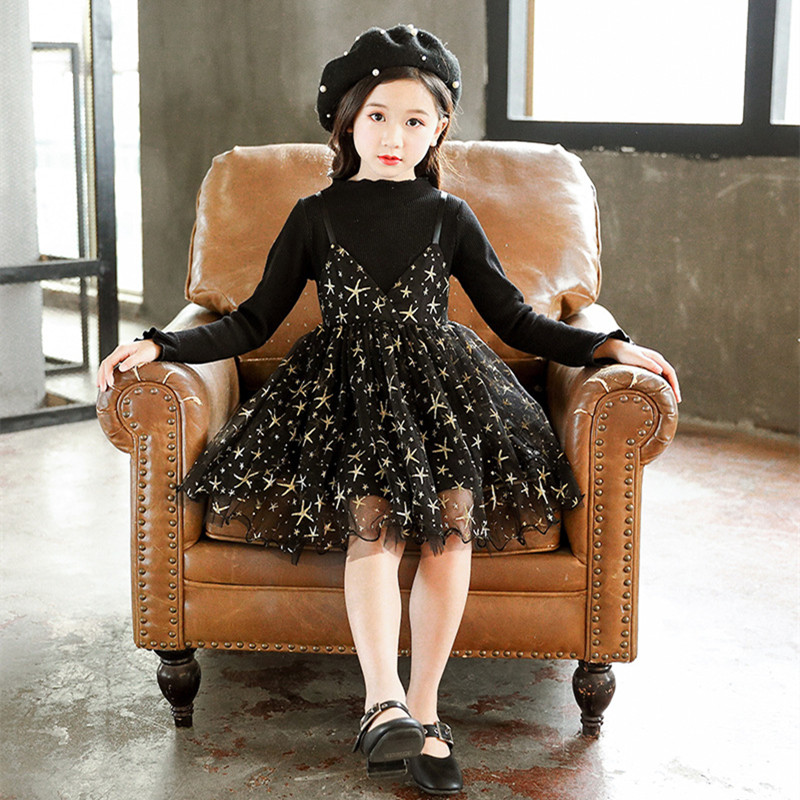 DFXD 2018 Autumn Children Outfits England Style Teen Girls Long Petal Sleeve Knitted Lace Bronzing Stars Spliced Princess Dress 2