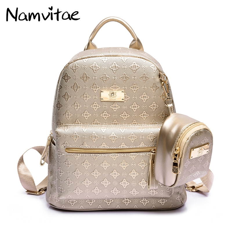 Namvitae Luxury Women Backpack with Purse Bag Female PU Leather Embossing High Quality School Bag for Teenages Travel bag