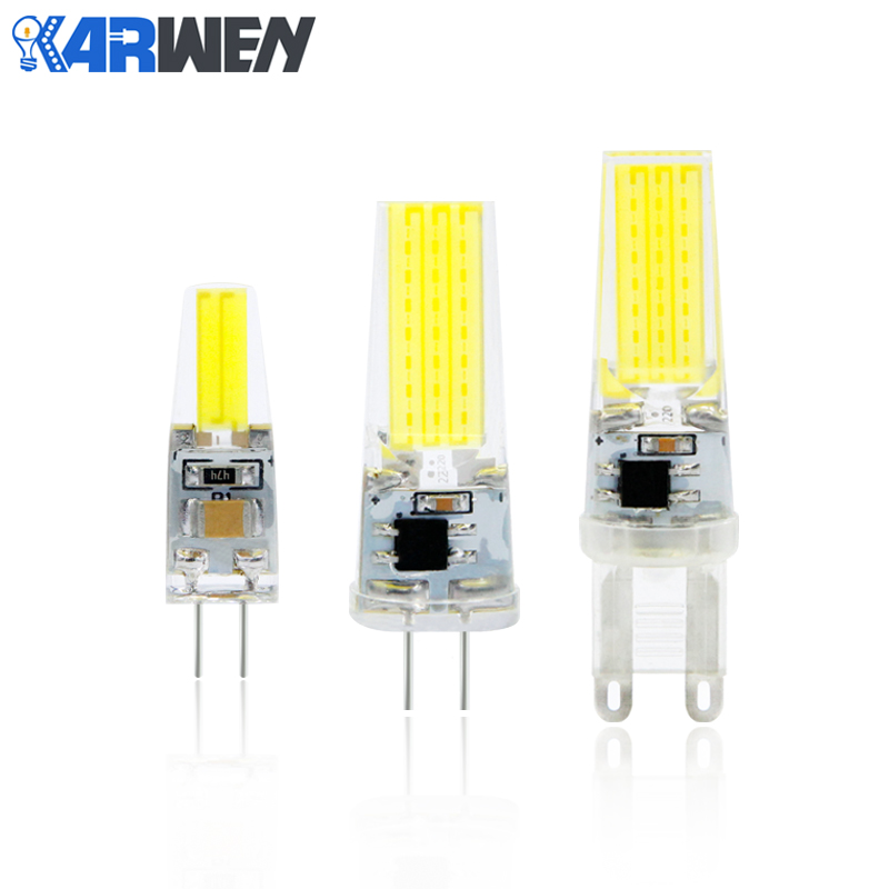 KARWEN Dimmable COB G4 G9 E14 LED Lamp 12V AC/DC Real Power 3W 6W 9W G4 COB Bulb Chandelier Lamps Replace Halogen LED E14 G9 high power dimmable 189mm led r7s light 50w cob r7s led lamp with cooling fan replace 500w halogen lamp
