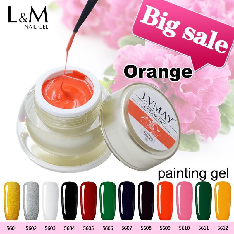 Lvmay marca 3 unids kit pintura gel uv Uñas de gel pinturas acrílico cáscara de color naranja productos profesional polaco Clavos