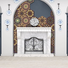 Muslim style PVC retro living room bedroom wallpaper wall sticker kitchen oilproof bathroom waterproof
