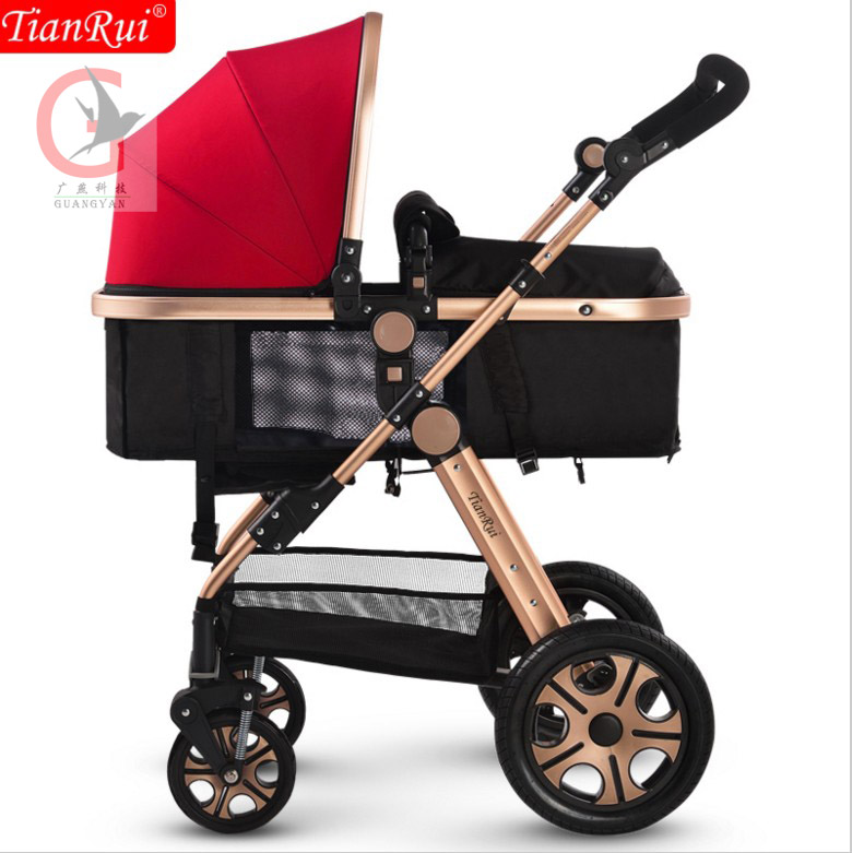 TIANRUI Baby Stroller 3 in 1 Classic 8 Free Gifts Folding Carriage Buggy Pushchair Pram Newborn Infant Car 4 wheels certified baby products baby buggy stroller with pad 600d oxford fabric kids pram and strollers 4 colors infant carriage on sale