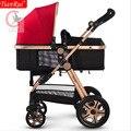 Tianrui carrinho de bebê 3 em 1 classic 8 brindes folding carriage buggy pram pushchair bebê recém-nascido carro 4 rodas