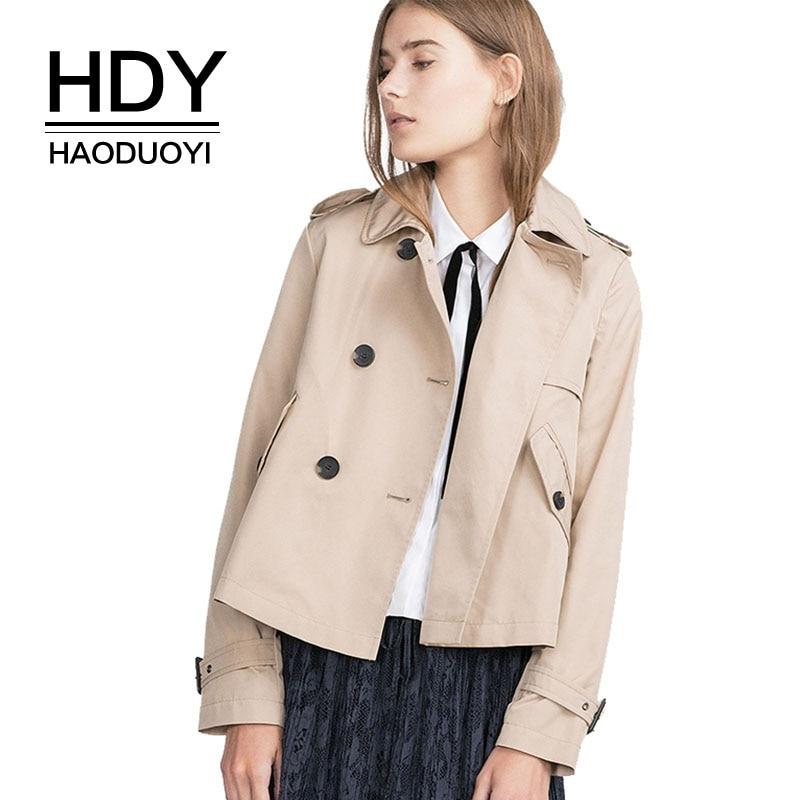 HDY Haoduoyi Autumn Short Double Breasted Coats England Style Women Coats Fashion Basic Jacket Outwear Ladies Coats