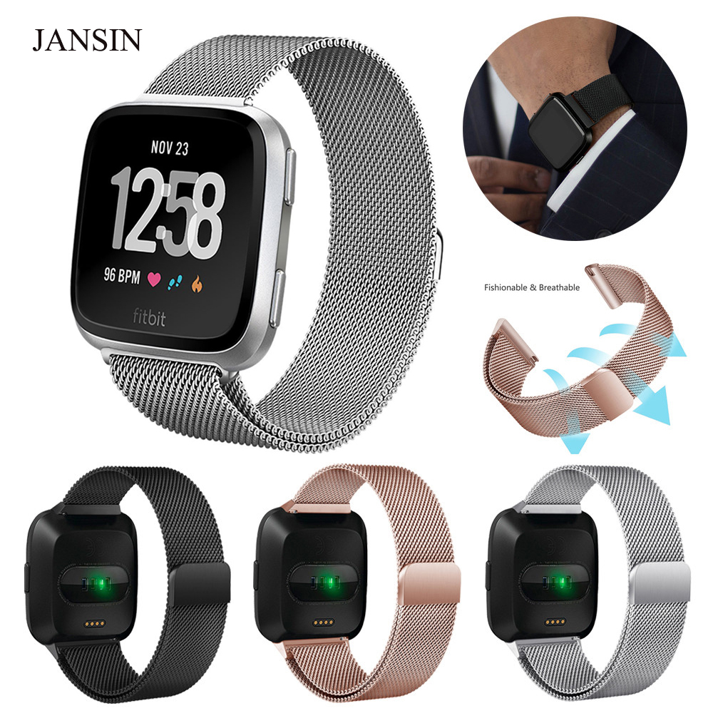 JANSIN Watch Bands for Fitbit Versa Milanese Loop stainless Steel sport Replacement Bracelet Strap for Fitbit Versa band