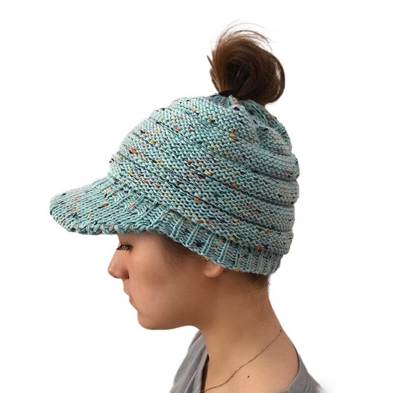 2018 Winter Knitted Ponytail   Beanie   Snapback Hat Female Winter Hat For Women bonnet femme Caps Thick Women'S   Skullies     Beanies