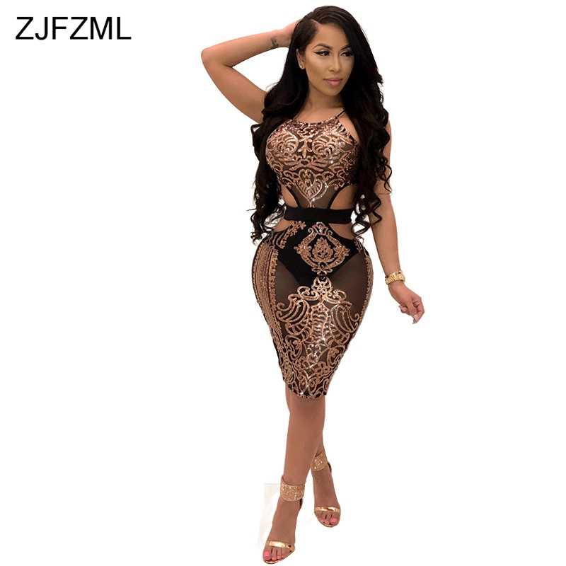 ZJFZML Waist Band Cut Out Sexy Sequined Dress Women Halter Sleeveless  Bandage Dress Summer Backless Party efdda2e7f0e0