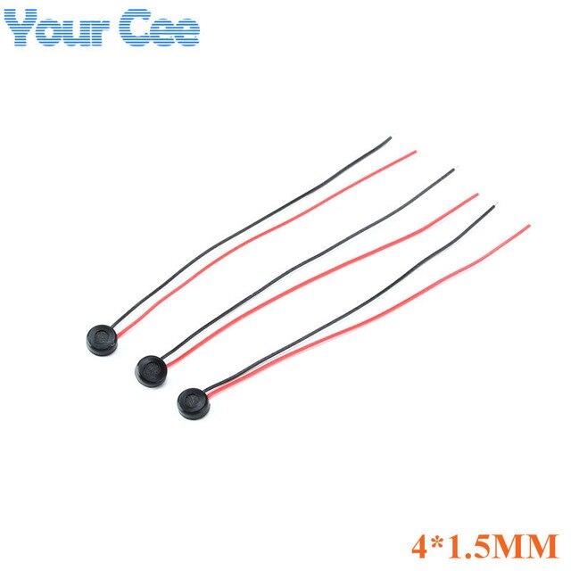 200 pcs 4*1.5 MILLIMETRI Capacitivo Electret Microfono/Pick Up 58 + 3dB (filo lunghezza: 5.5 CENTIMETRI) MICROFONO A Condensatore Electret 4x1.5 MM per MP3 MP4