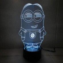 Бесплатная доставка 1 шт. многоцветный USB зарядка 3D мультфильм гадкий я миньоны из светодиодов с luminaria-де-меса ночника
