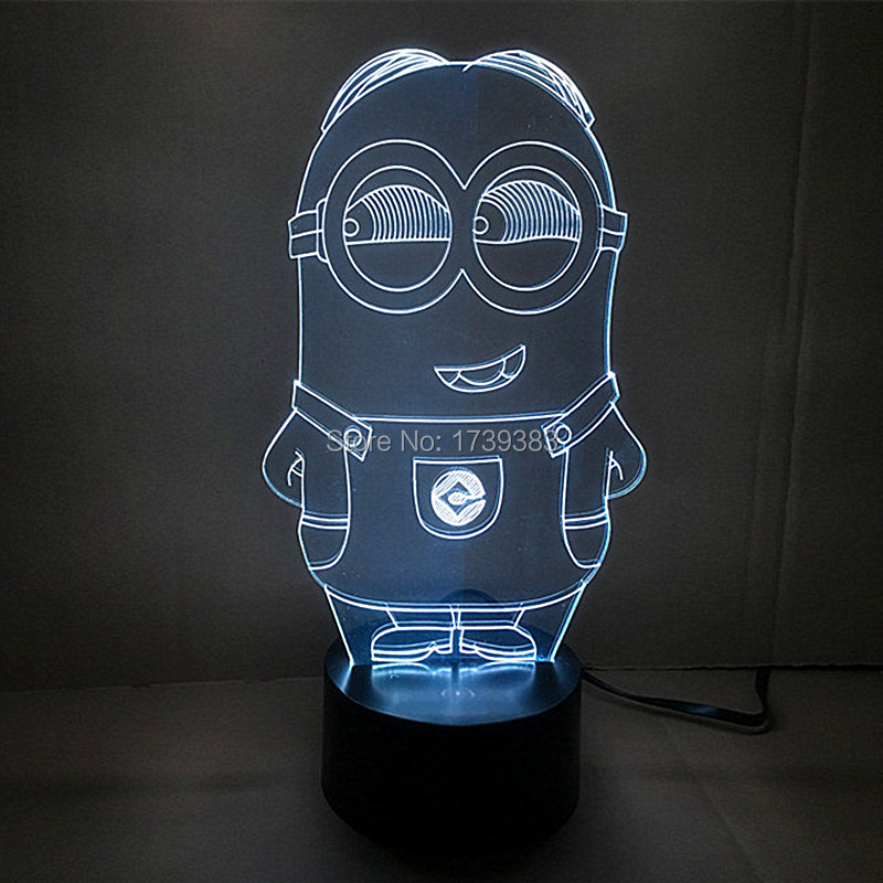 Free Shipping 1 piece Multi Color USB charge 3D Cartoon Despicable Me Minions font b LED